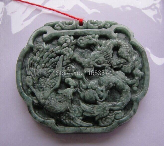 Green 100% Natural A Jade jadeite pendant Dragon Phoenix pattern(China (Mainland))