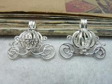 4pcs Carriage Locket Pumpkin Caravan Pearl Bead Locket Cage Pendant Mounting for Jewelry, Bracelet/Necklace C7844(China (Mainland))