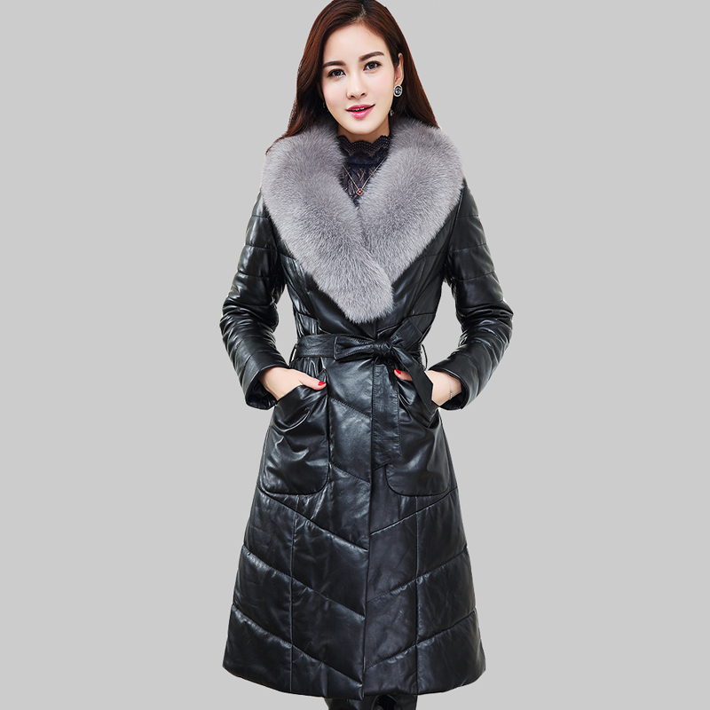 Large Size 4XL 2016 Large Fur Collar Winter White Duck Down Coat PU Leather Jacket Adjustable Waist Winter Women Down Coat DQ963Одежда и ак�е��уары<br><br><br>Aliexpress