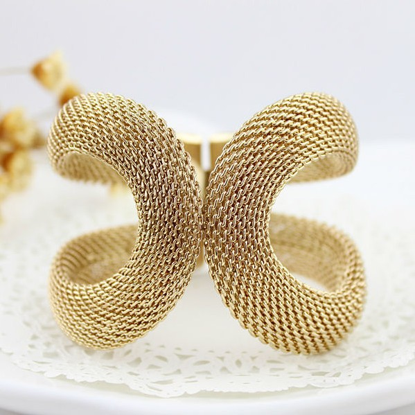 BL064 Cuff Bracelets Alloy Gold Color Wide Bangles Women Fashion Trendy Costume Jewelry - Royal Star Industries Co.,Ltd (SH store)