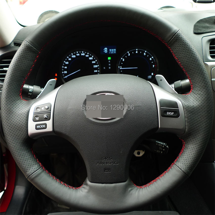 Steering Wheel Cover for Lexus is250 Car Special Hand-stitched Black Leather Covers(China (Mainland))