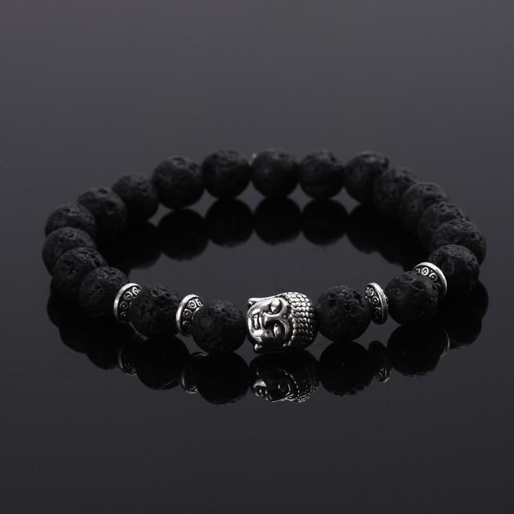 2015 Fashion jewelry Natural stone buddha beads bracelet men elastic rope chain charm bracelet women Pulseras mujer