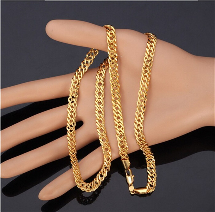 New Trendy Luxury 18K Real Gold Filled 6 MM Wide Men Necklace With 18K Logo Men Fashion Chain Necklace Gift Jewelry YR0012252(China (Mainland))