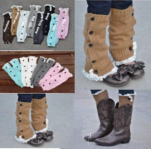 Baby Girls Winter Leg Warmer legwarmers Button Crochet Knit Boot Socks Toppers Cuffs Stocking Socks Boot Covers Leggings(China (Mainland))