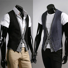 2014 Limited Rushed V-neck Faux Waffle Undershirt Autumn Fashion Elegant Men Plaid Faux Two Piece Male Slim Vest Personality(China (Mainland))