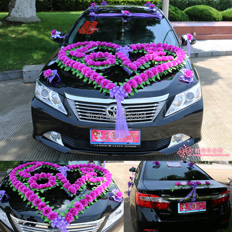Free shipping by ems new style wedding car decoration set for Automobile decorations home