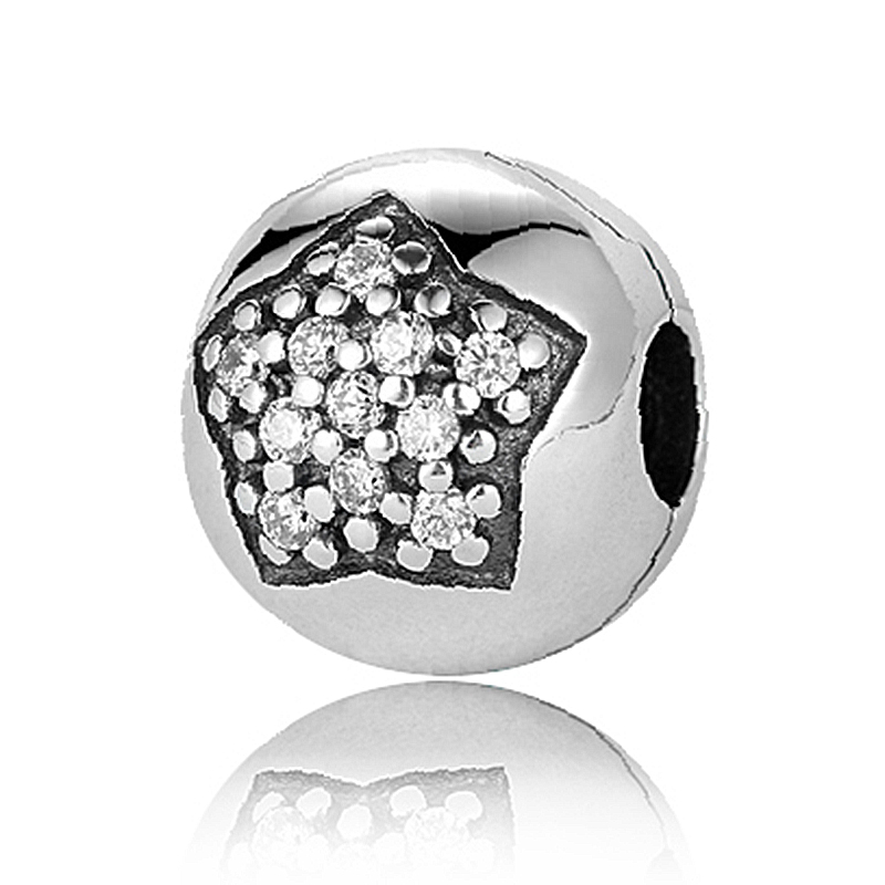 925 925 Sterling Silver Beads Star Pave Silver Clip Charm Bracelet Pendant for Jewelry making for Women Gift(China (Mainland))