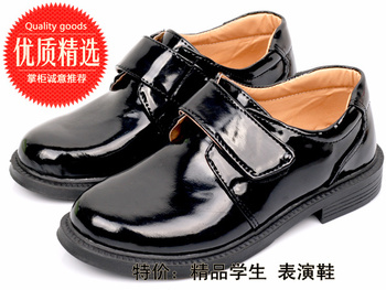 Male child leather black shoes wedding flowers children shoes formal dress shoes