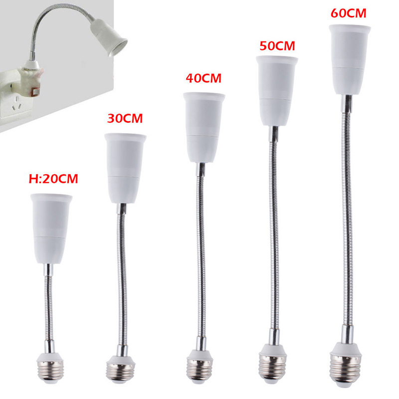 E27 LED Light Bulb Lamp Holder Flexible Extension Adapter Socket 20/30/40/50/60cm 2017