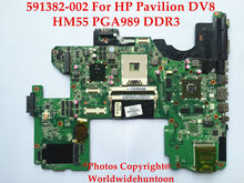 Buy Original laptop motherboard HP Pavilion DV8 591382-001 DAUT8AMB8D0 HM55 PGA989 DDR3 Fully tested for $125.00 in AliExpress store