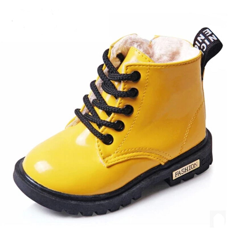 2015 New Winter Children Shoes Snow Boots PU Leather Waterproof Rubber Boots Kids Chaussure Enfant Boys Girls Martin Boots(China (Mainland))