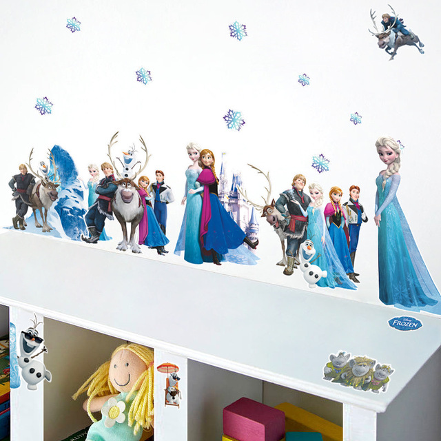 &% Cartoon Snow Queen Wall Stickers Elsa Anna Snowflake Wall Decal Poster Girls Gift Nursery Home Decor Vinyl 3D Animation Mural(China (Mainland))