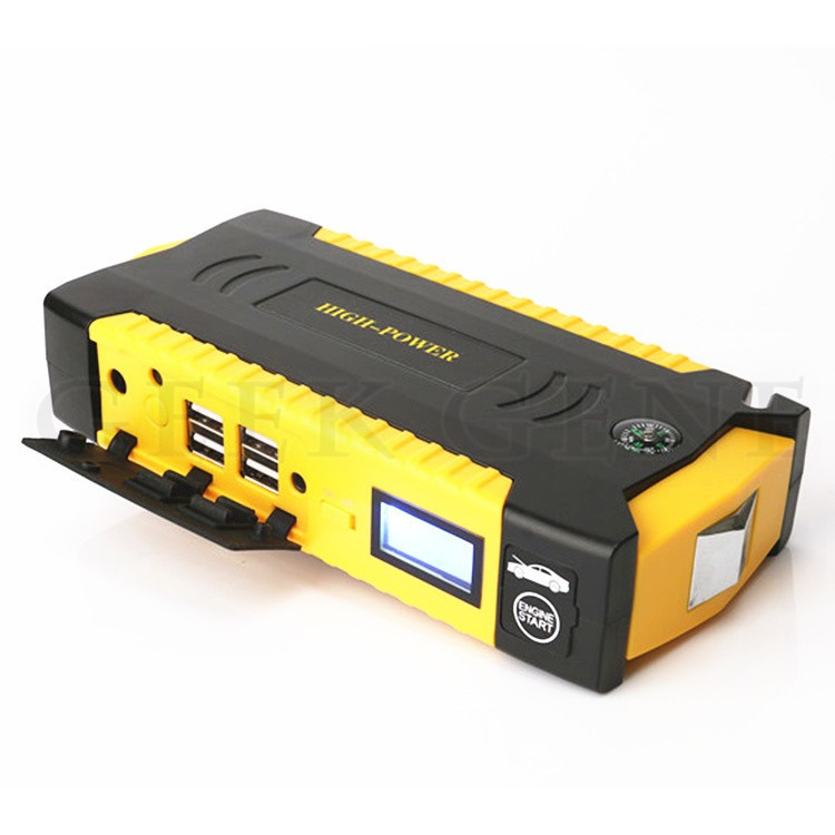 Emergency Car Battery Charger Jump Starter + Phone Laptop Power Bank + SOS Lights + Escape Hammer + Seat Belt Cutter + Compass