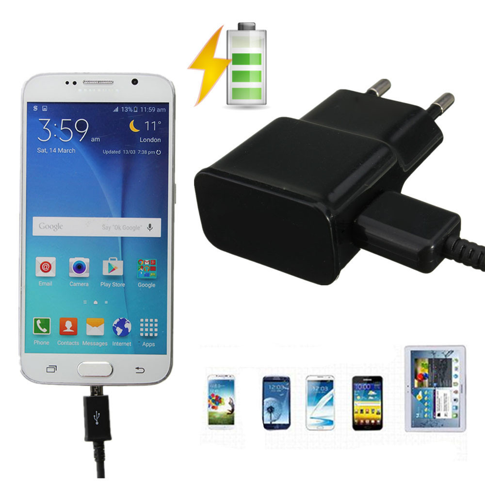 DC DC 5V/2A(Max) Micro USB Cable Wall Charger Adapter EU Plug For Samsung Galaxy S3 S4 S5 S6