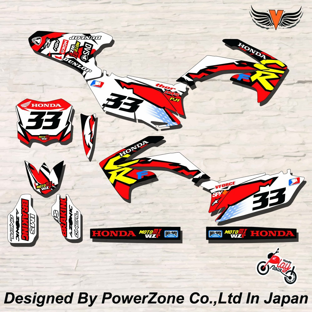 CRF XR CRM 125 250 450 650 Team Graphics Backgrounds Decals Stickers IMS Braking Motorcross Motorcylce Dirt Bike MX Racing Parts