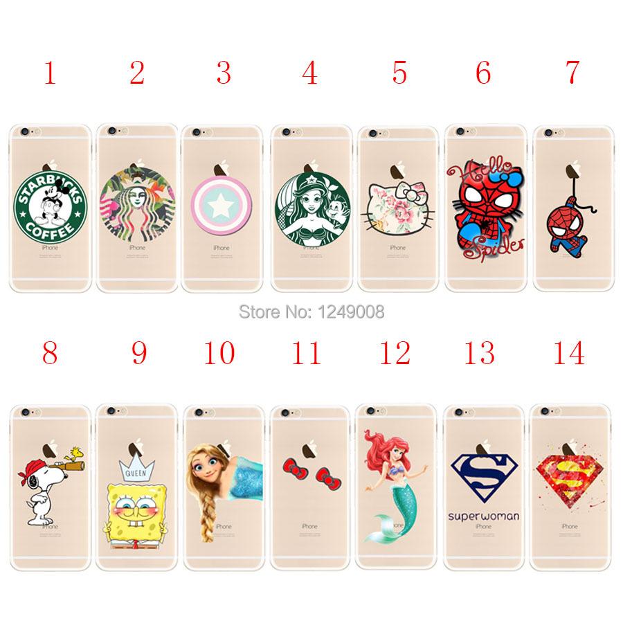 Spongebob Hello Kitty Mickey Spiderman Superman&woman Mermaid Elas Clear Plastic /TPU Case Cover For iPhone 4 4S 5C 5S 6 6S Plus(China (Mainland))