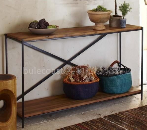 American Country To Do The Old Wood Wrought Iron Console Table Vintage Wood Coffee Table Desk