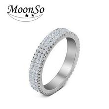 Moonso 925 Серебряные Кольца Персонализированные Кольца Полос Класса Кольцо Обручальное Кольцо Для Женщин Свадьба Обручальное Ювелирные Изделия R721(China (Mainland))