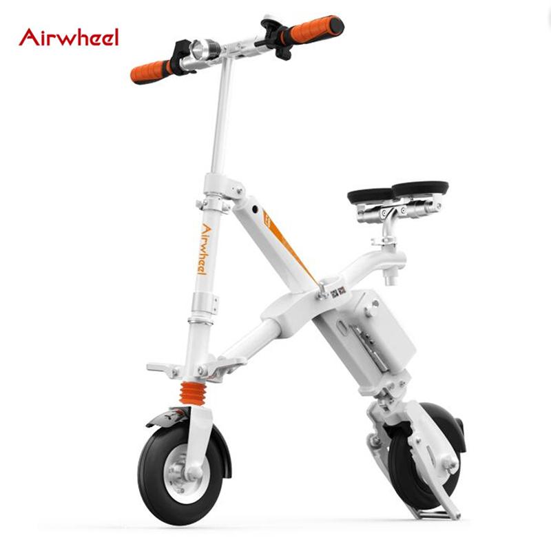 original Airwheel E6 electric bicycle folding bike with led light usb port smart ebike sport cycling adult e bike steering-wheel(China (Mainland))