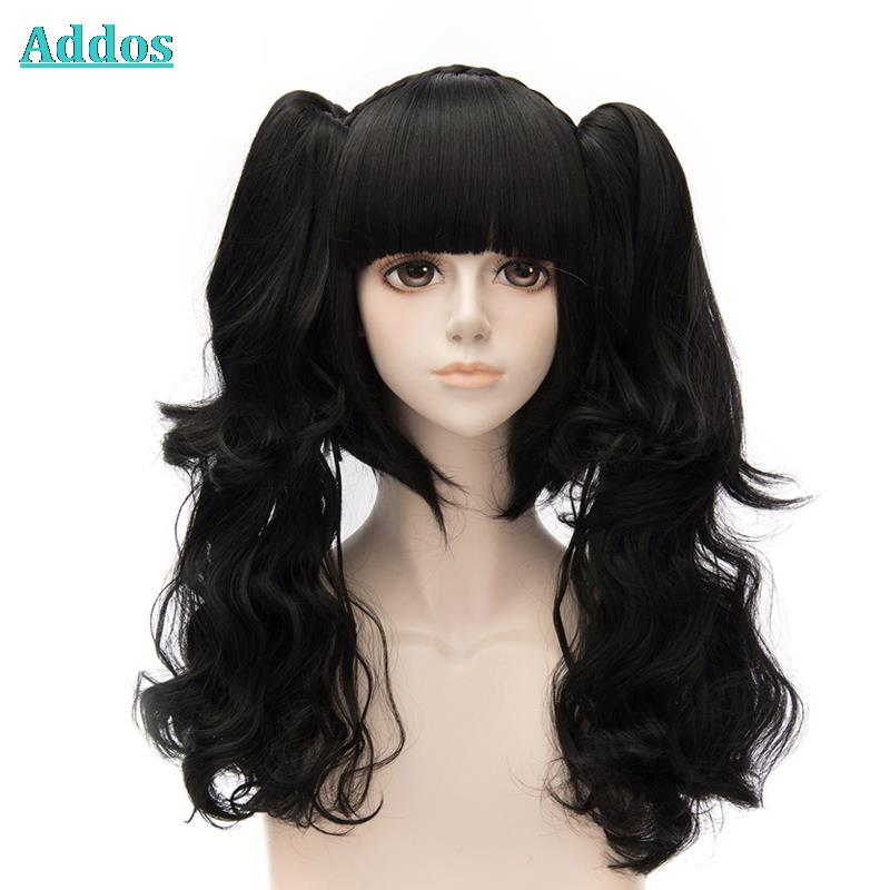 Cute Black Brown Lolita font b Wig b font With Ponytails HOT SALE Cosplay font b