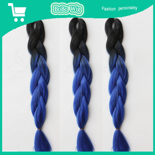 Blue black hairpiece synthetic hair extensions 100g ombre hair 5 piece lot african jumbo twist kinky bulk hair weave braids(China (Mainland))