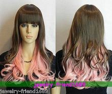 Wholesale& heat resistant LY free shipping>>>New wig Cosplay Dark Brown & pink Mixed long Curly heat resistant Full wig