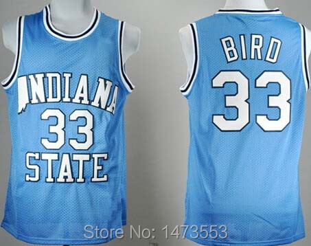 2015 New #33 Larry Bird College Jersey Light Blue, Premier Stitched Larry Bird Indiana State Sycamores Baseketball Jerseys(China (Mainland))
