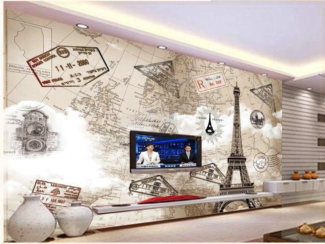 neue gro e wallpaper benutzerdefinierten hintergrund continental eiffelturm in paris wandbild. Black Bedroom Furniture Sets. Home Design Ideas