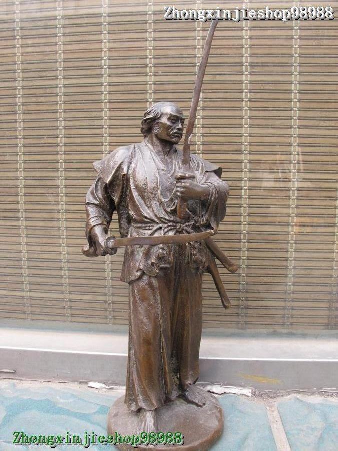 "16""Pure Bronze carve statue Art Japan Pairs of knife warrior Samurai sculpture(China (Mainland))"
