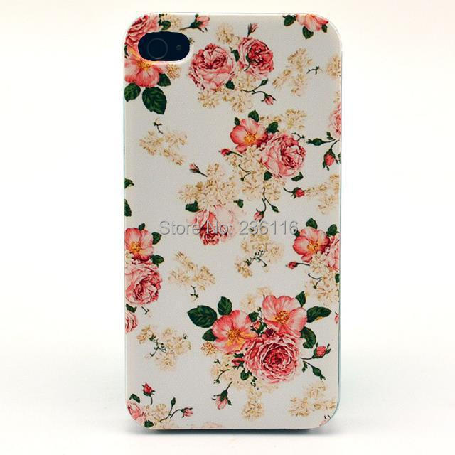 Painted Style Pink Rose Flower Pattern Hard Back Case