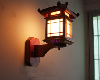 Chinese style vintage wall lamp antique corridor aisle wall lamp wooden sheepskin small house wall