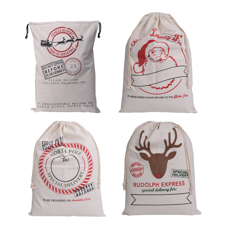 High Quality Large Canvas Merry Christmas Santa Sack Xmas Stocking Reindeer Gift Storage Bag baby toy clothing Laundry Bag Pouch(China (Mainland))