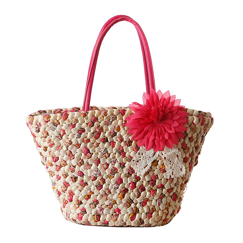 New Bohemian Style Lace Flowers Grass Knitting Beach Hand Bag Holiday Essential Printing Woven Shoulder Bag Shopping Tote JXY405(China (Mainland))