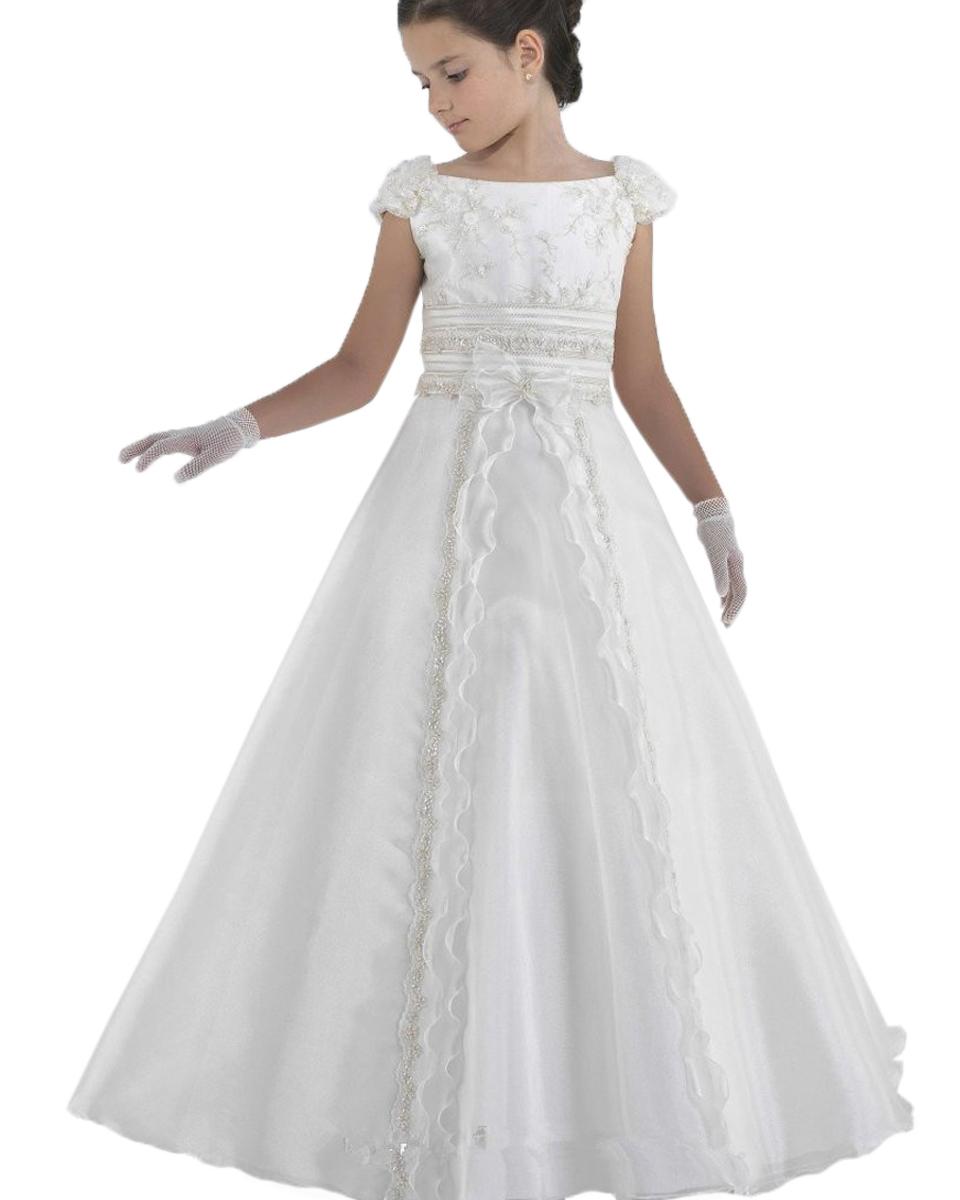 2015 first communion dresses floor length princess white flower girl