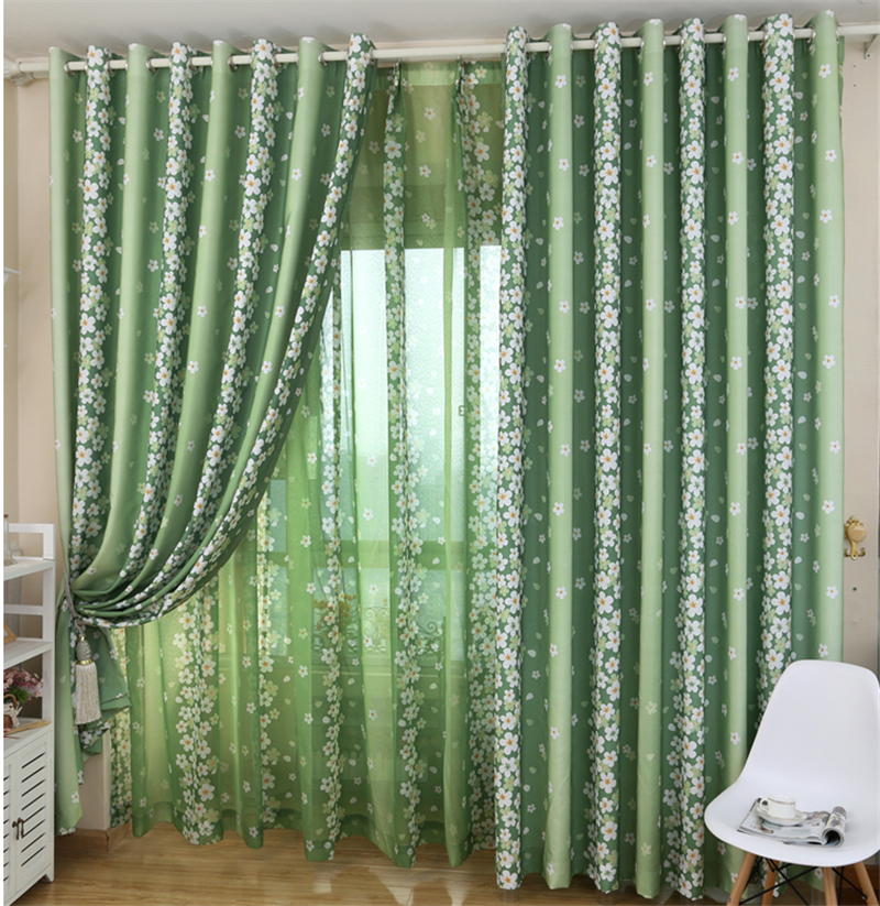 curtains living room curtain rustic small fresh floor curtain green