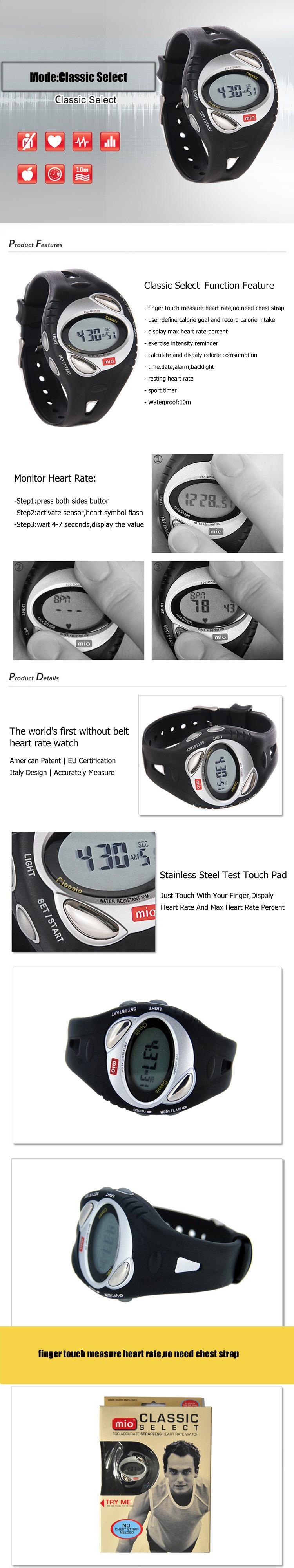 Mio classic smart сердечного ритма sport без кардиопередатчик 3500 обратного отсчета калорий спортивные наручные часы мужчины стиль