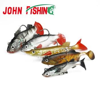 5pcs/lot Soft Bait Lead Head Fish Lures 7g/11g/14g/18g Bass Fishing Tackle Sharp Treble Hook T Tail Sea Fishing Tackle