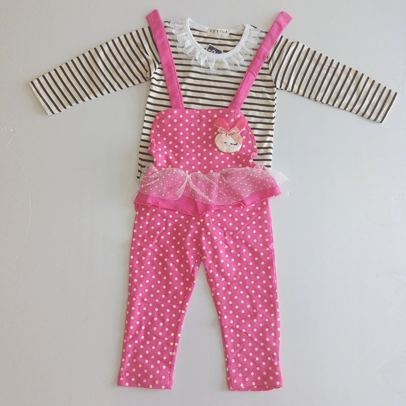 2016 Spring Summer Autumn Two-piece Pink Rabbit & Red Cat Children Set Next New Style Baby Clothing Suit Special Offer Clearance(China (Mainland))