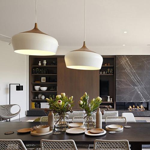 Modern pendant light Oak Wood lamp E27 socket wood lampholder Hanging light white black Optionally 300mm