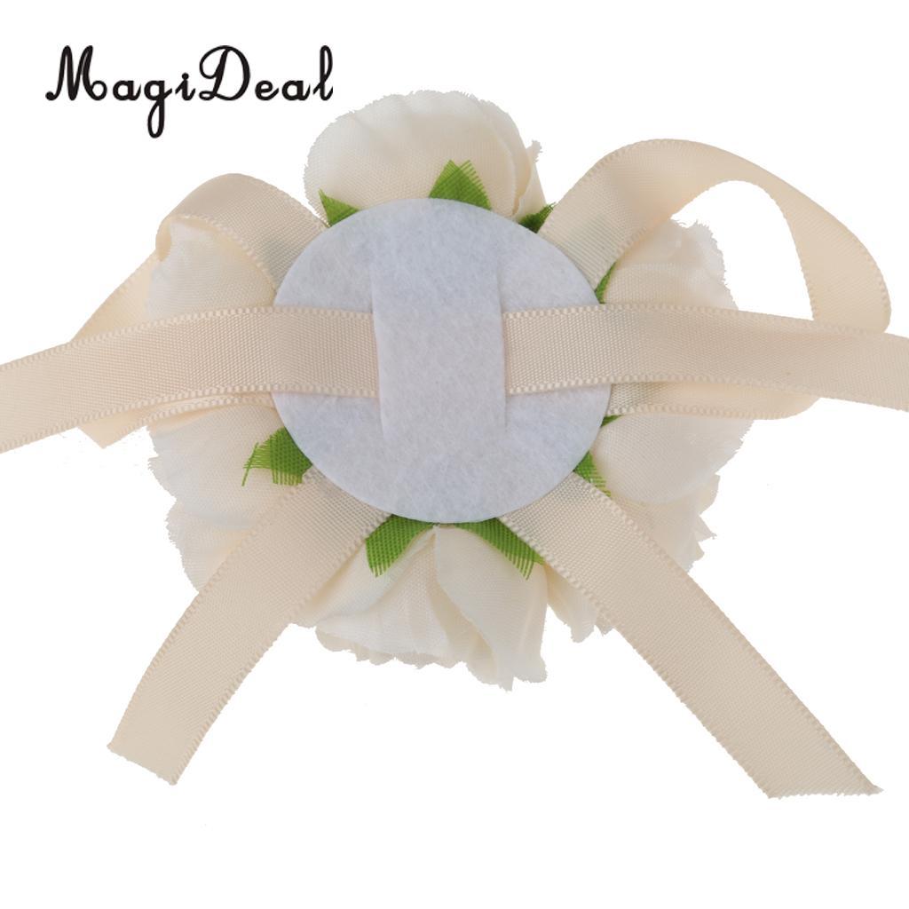 2 Pieces Set Bridal Wrist Corsage Bridesmaid Bracelet Pearl Flowers Costume