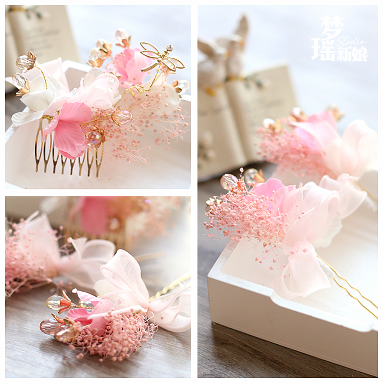 pink flower gold combs hairpins wedding hair accessories bridal party jewelry beach comb hair pins clips 679(China (Mainland))