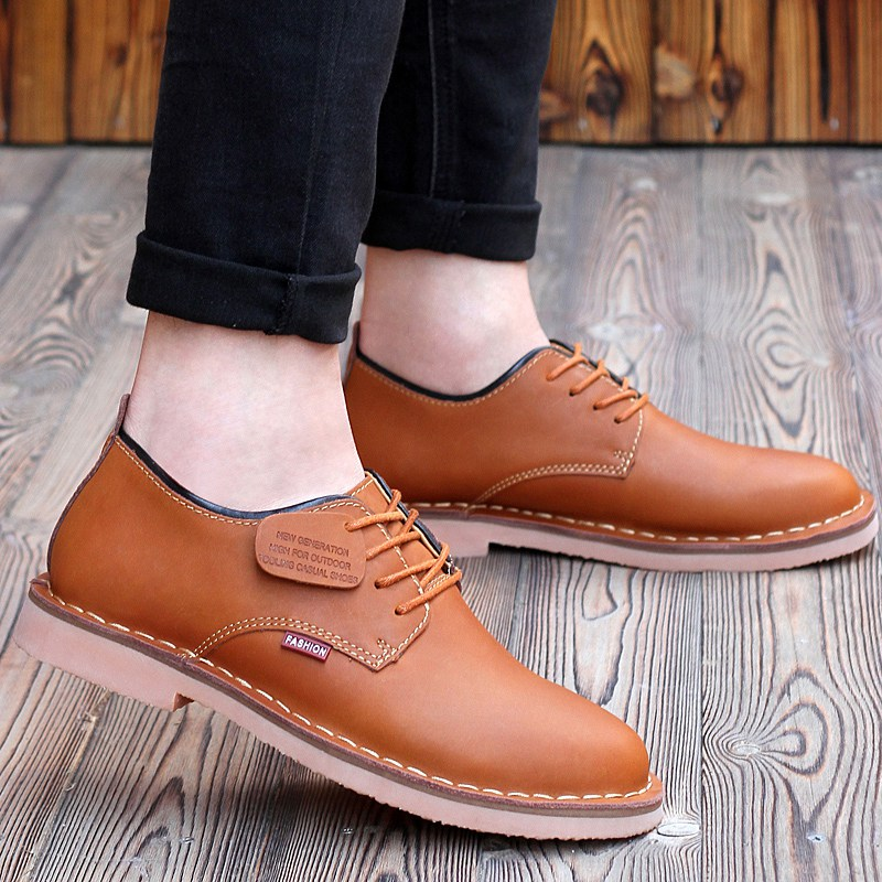High Quality Autumn Winter Men Shoes Genuine Leather Flats Casual Lace-Up Low Top Round Toe Shoes For Men Size 39-44