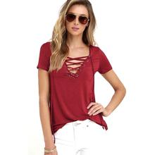 Summer Fashion Women T-shirts Short Sleeve Sexy Deep V Neck Bandage Shirts Women Lace Up Tops Tees T Shirt plus size LJ3422M