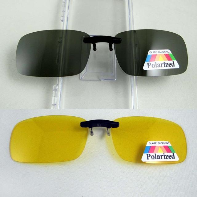 Супер свет поляризованные очки клип на желтый ночного видения очки унисекс очки зажим ...