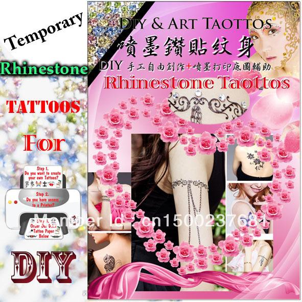 Diy rhinestone Temporary InkJet tattoos sticker/Transfer paper/ Water sidle decal paper
