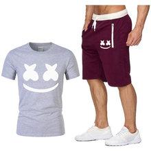 Новейшая футболка с круглым вырезом и короткими рукавами, Мужская модная хлопковая забавная Футболка с принтом каракули, мужские топы, футб...(China)