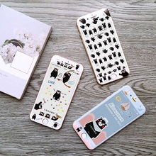 Hot Sale Rushed Tempered Film Anti-knock Cute Cartoon Japan Bear Kumamon Black White 3d Screen Protector For Iphones 6s 6plus