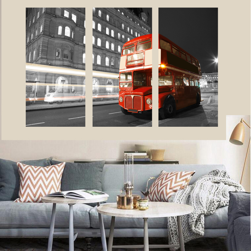 Double-decker Buses picture printed on Canvas NO FRAME Home Decor for Living Room wall decor NO FRAME painting free shipping(China (Mainland))