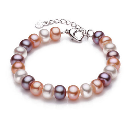 Top quality 9-10mm natural freshwater pearl bracelet for women white/multi-color two types fashion charm bracelet(China (Mainland))