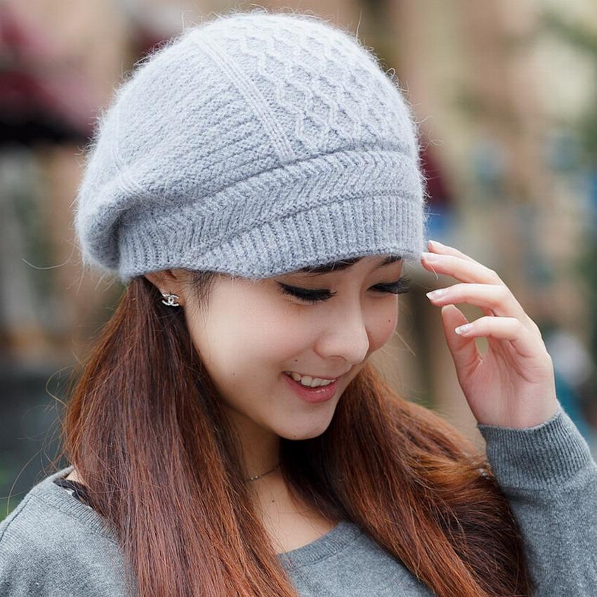 New brand fashion female beanies winter beret female winter hat yarn rabbit fur women's outdoor thermal knit fur cap lady caps(China (Mainland))